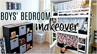 SHARED BOYS BEDROOM MAKEOVER BEFORE AND AFTER   BOYS SHARED BEDROOM TOUR