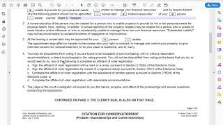 How an Attorney Fills out a Citation for Conservatorship for a Limited Conservatorship (GC-320)