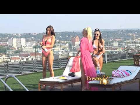 Natasa Savija, Sara Reljic i Marija Ana na terasi sa bazenom