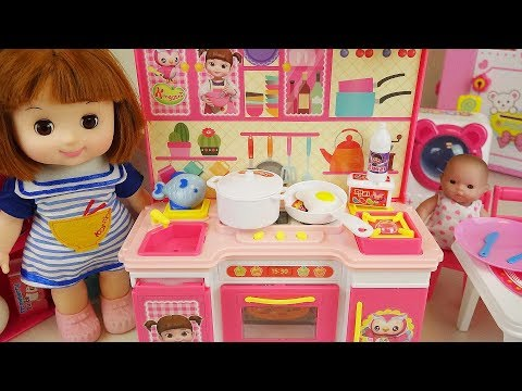 Baby doll kitchen and refrigerator cooking food toys