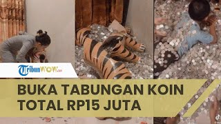 Viral Pecah Celengan Patung Macan Berisi Uang Koin Total Rp15 Juta, Butuh Waktu 5-6 Jam Menghitung