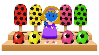 Learn Colors with Soccer Balls Shapes and Ice Cream Candies by KidsCamp