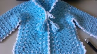 Crochet Baby Sweater With Unique Stitch / Video One - Yolanda Soto Lopez