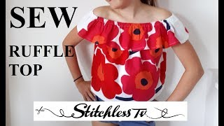 DIY How to Sew an Off Shoulder Ruffle Top