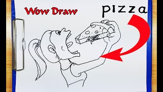 How To Draw a Pizza - How to turn words PIZZA into a Cartoon - Drawing Pizza - Pizza Foot