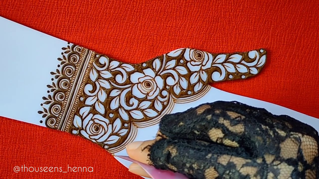 stylish semi bridal mehndi design by thouseens henna