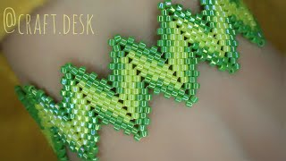 Zig Zag Peyote Bracelet - Step By Step Tutorial- Beaded Bracelet