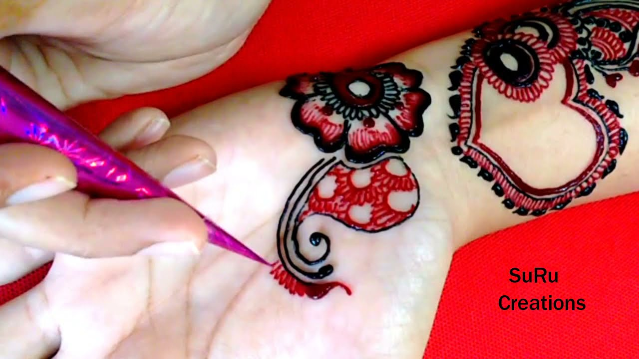 heart shaped color mehndi design by suru creations