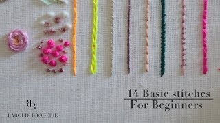 Hand Embroidery For Beginners - 14 Basic Stitches  I Embroidery  Step By Step Tutoriel