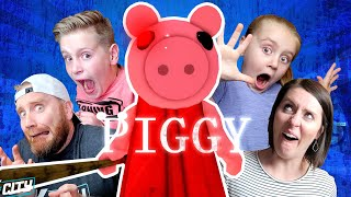 ROBLOX PIGGY is Chasing Us!!! (Try Not to JUMP!) K-City Gaming