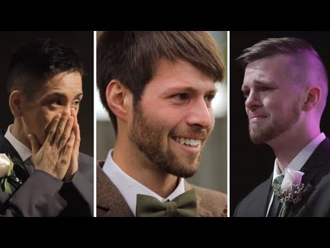 Emotional Grooms Seeing Their Beautiful Brides