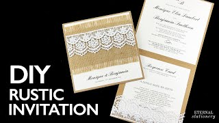 HOW TO MAKE YOUR OWN WEDDING INVITATION | Rustic Lace Pocket Invitation | Wedding Invitation DIY