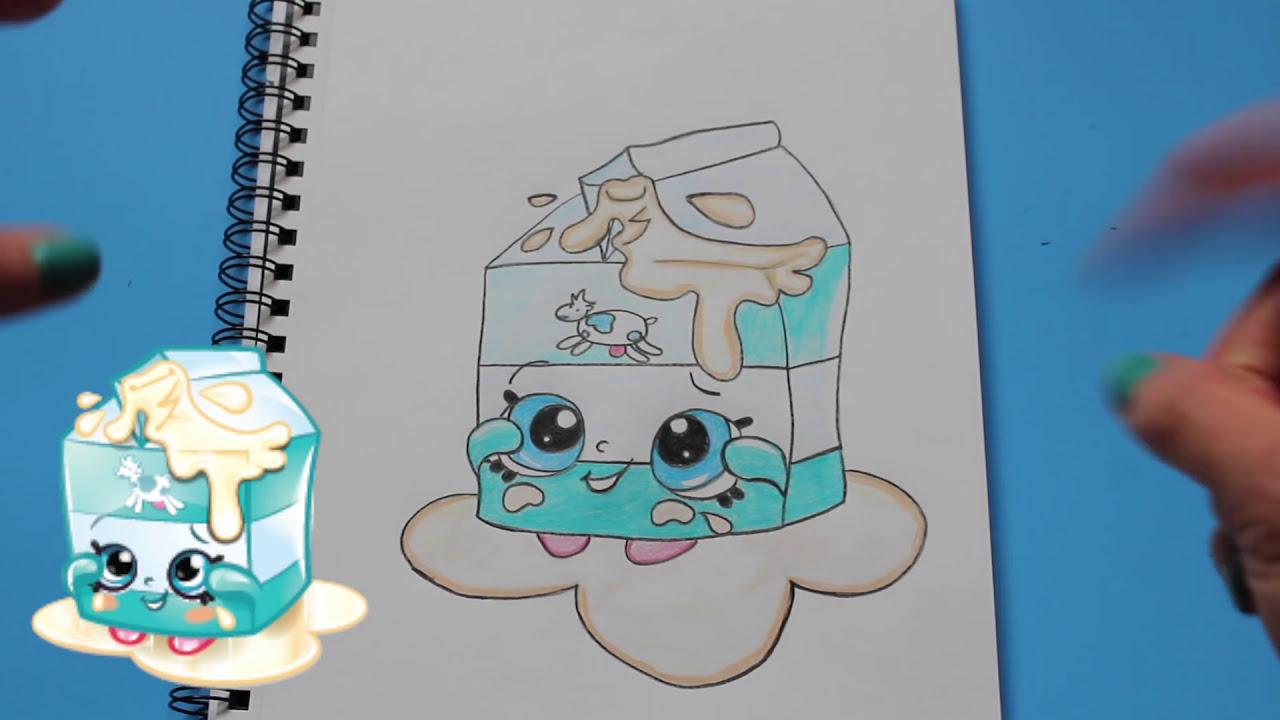 how to draw shopkins season 1 spilt milk step by step easy toy