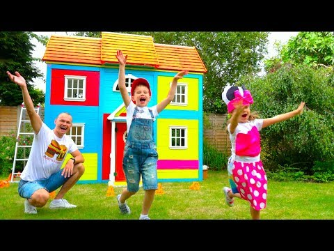 Katy and Max build Childrens Playhouse or Garden House for kids and paint it bright colors (видео)