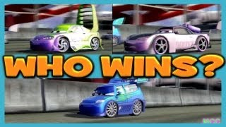Cars 2 The Game Wingo vs DJ vs Boost 3 Player Race on Runway Tour By Disney Cars Toy Club