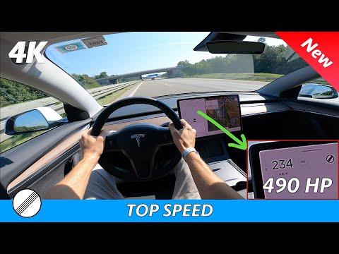 Tesla Model 3 Long Range 2021 Refresh - POV drive on German autobahn | TOP SPEED (4K)