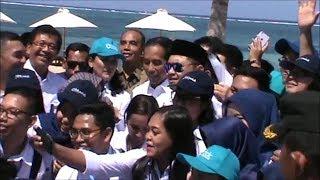 Sorak-sorai Turis Sambut Kedatangan Presiden Jokowi di Kawasan Pariwisata Mandalika
