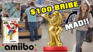 $100 Gold Mario Amiibo Bribe! MAD Walmart Shopper @ Midnight Release!!! (AMIIBO SHOPPING)