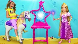Sasha and Rapunzel Doll play with Magic Mirrors