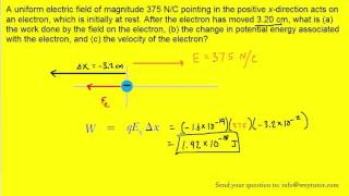A uniform electric field of magnitude 375 N/C pointing in the positive x-direction acts on an electr