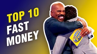 Top 10 Fast Money scores from first players on Family Feud! Steve Harvey FREAKS out!