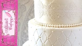 Quilted Lace Wedding Cake