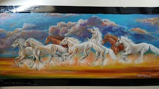 Seven Running Horse Painting-easy Acrylic  Painting Tutorial. #sevenhorse #howto #acrylicpainting