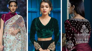 Top 61 Velvet  Blouse Designs || Partywear Saree Blouse Designs From Velvet Fabric ||designer Blouse