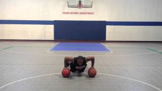 Pound Alternating Dribble Into Dribble Push Up