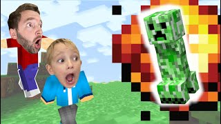 FATHER SON MINECRAFT! / The Creeper EXPLODED OUR HOUSE!