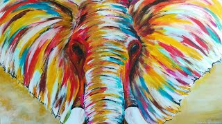 Colorful Elephant Art, Abstract Acrylic Painting