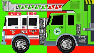 Fire Trucks & Garbage Trucks Teaching AB Pattern - Organic Learning Educational Video for Kids