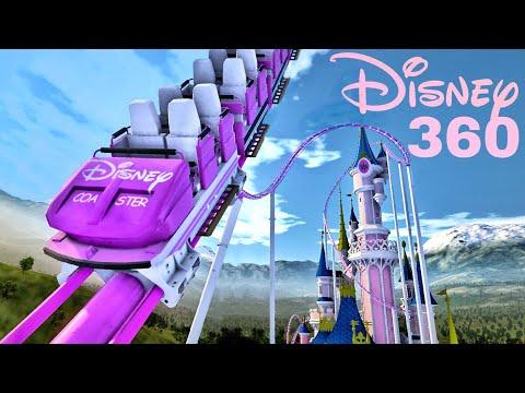 🟨 Disney Castle Roller Coaster 360 VR POV immersive virtual Reality 4K 3D ride