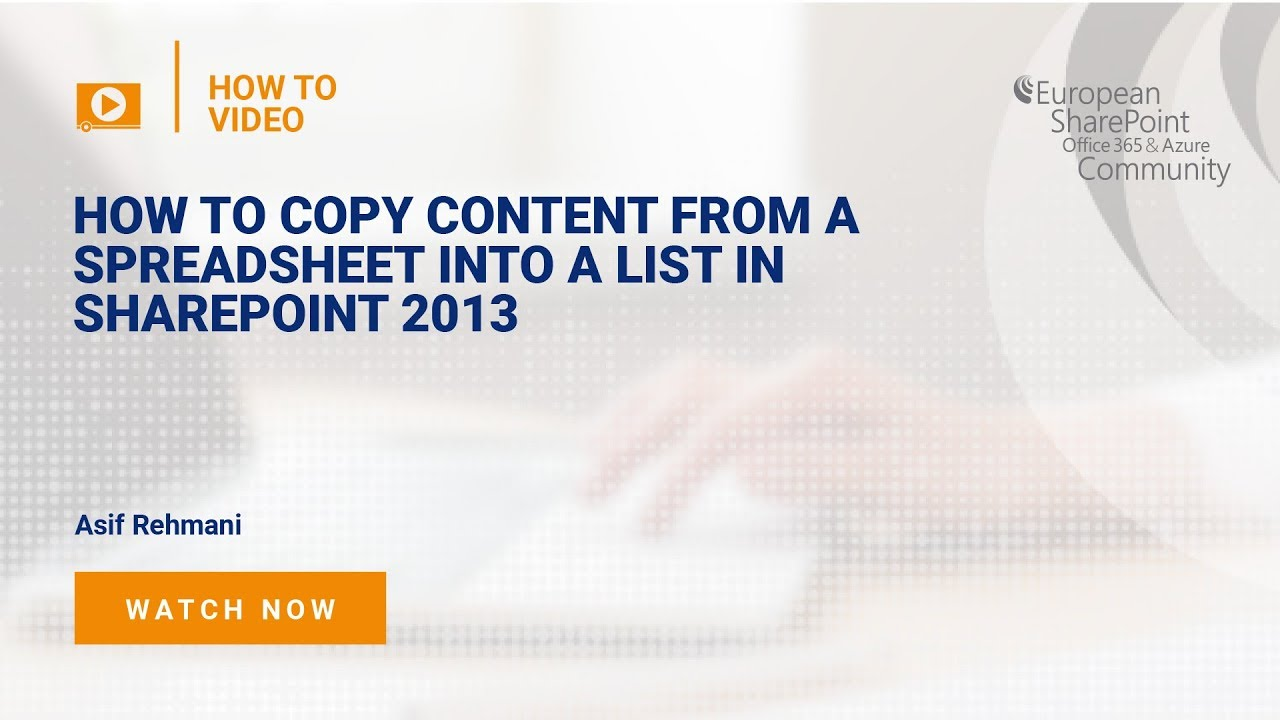 How to copy content from a spreadsheet into a list in SharePoint 2013