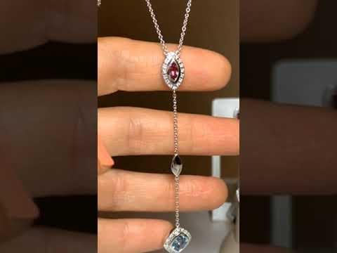 Gargantilla Breuning colección Balance turmalina, topacio y diamantes en oro blanco 18k