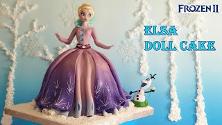 [FROZEN 2 ELSA DOLL CAKE] Disney/겨울왕국2 엘사 인형 케이크 만들기 / Princess Doll Cake/how To Make  Frozen Cake