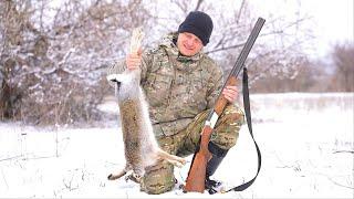 Охота на зайца. ОДНА ДРОБИНА ВСЁ РЕШИЛА. Выпал первый снег 2021. Тропление зайца.