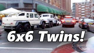 6x6 AMG G63 twins in London - Laferrari - Chrome SLR - Aventadors - Carrera GT