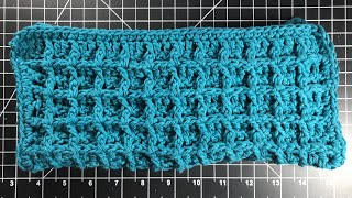 How To Crochet The Waffle Stitch- Easy Dishcloth For Beginner