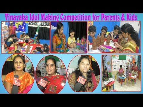 Vinayaka Idol Making Competition for Parents & Kids Painted Mud Vinaka by Oxford International School in Visakhapatnam,Vizagvision....
