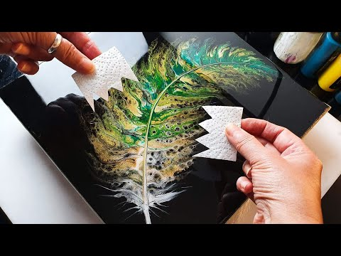 stunning acrylic painting swipe method of a feather by ab creative