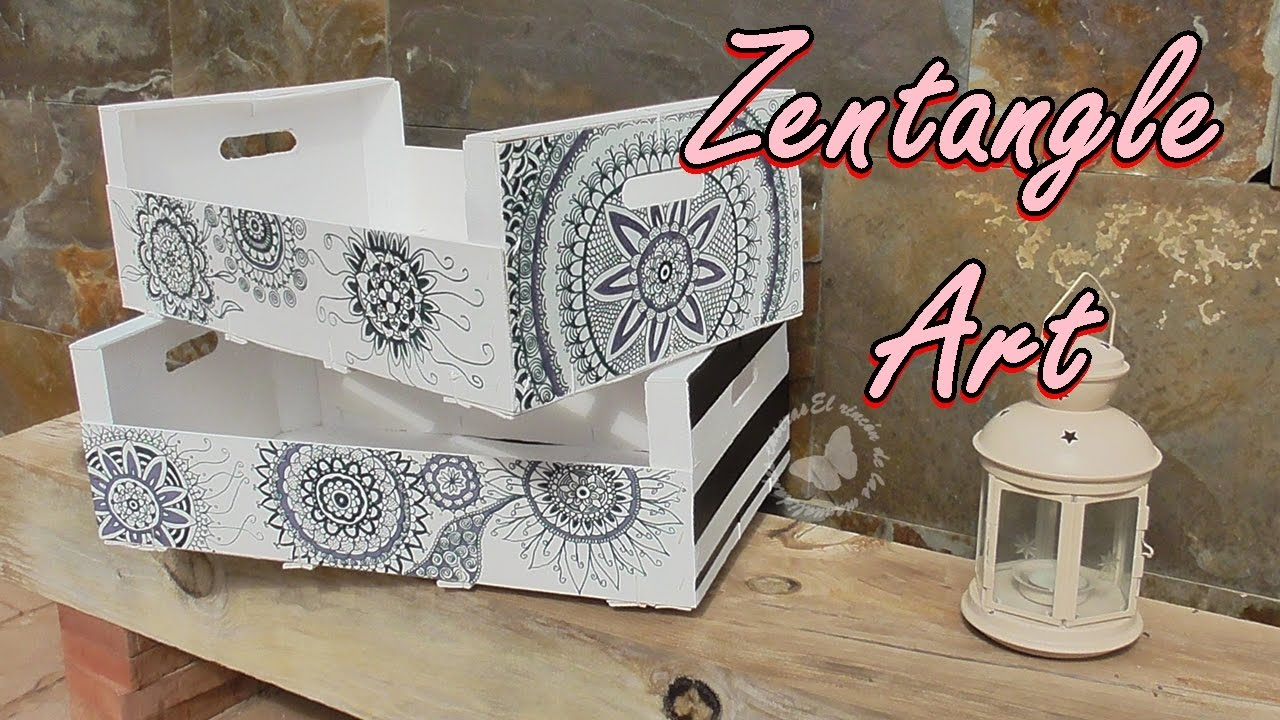 Decoramos cajas de fruta reciclada con Zentangle Art - We decorate boxes of recycled fruit with