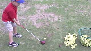3 1/2 Year Old Golfer Matthew Ryan Scripture on Golf Driving Range Learning  for FUN !!