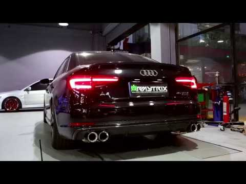 2018 Audi A4 B9 W/ ARMYTRIX S4-Style Quad Tips Conversion Exhaust - Pure Sounds!
