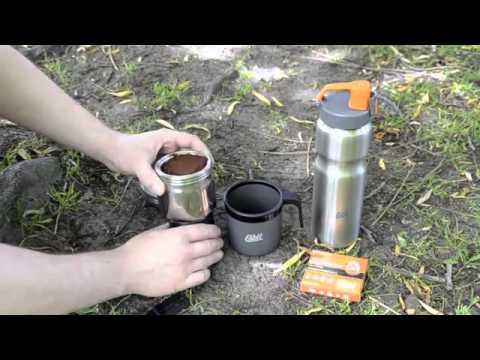 Cafetera de Acero Inoxidable Esbit. Ideal para el camping, caravaning, camper, trekking y viajes.