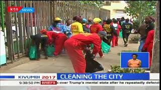 Nairobi governor-elect, Mike Sonko leads his rescue team in the clean up of sections of the city