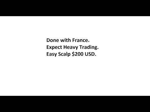 Done with France. Expect Heavy Trading. Easy Scalp $200 USD.