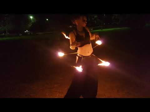 Briony testing her awesome new belly dancing fire belt