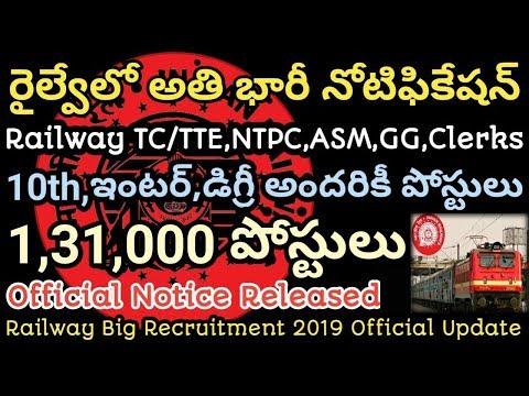 Railway Ticket Collectors,ASM,GG,Clerks 1,30,000 Posts Notification