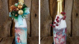 Новогодний подарок своими руками декупаж бутылки шампанского. Мастер-классы на Подарки.ру